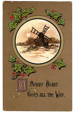 Vintage Christmas Postcard - Windmill, Mistletoe - made in England