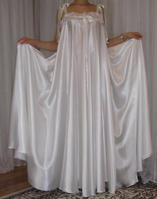 VTG Lingerie Silky Satin Slip FULL Sweep Negligee Babydoll LONG Nightgown M- 3X