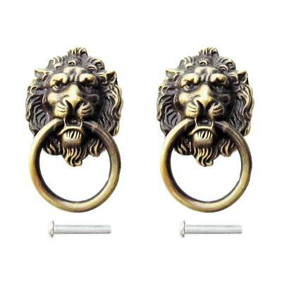 2x Lion Head Pull Handle Door Cabinet Dresser Drawer Knob Antique Brass