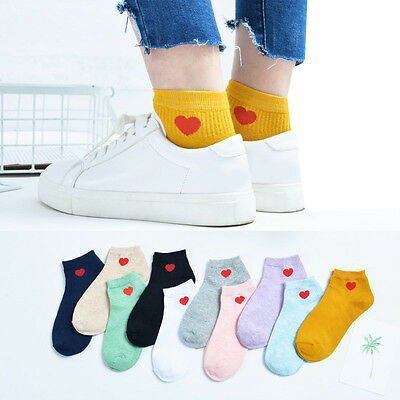 1 Pair Women New Harajuku Style Heart Ankle High Low Cut Cotton Socks