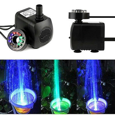 Mini Water Pump Fountain with 12 LED Lights Home Garden Pool EU US Plug