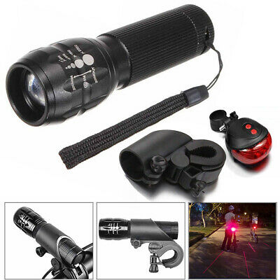 9000LM Q5 LED Zoom Bike Bicycle Head Light Front & Tail Lamp Flashlight Holder
