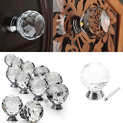 16 Pack Diamond Knobs Clear Crystal Glass Door Drawer Cabinet Furniture Handle