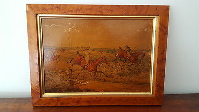 """A Vintage Print on Board Plate 3 """"A Steeple Chase"""" Horse Jumping/Racing Interest"""
