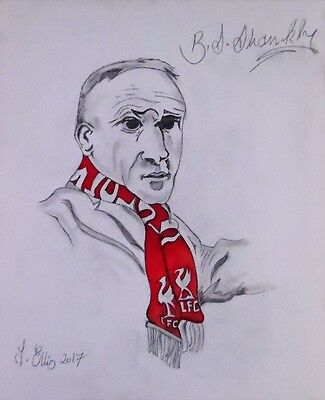 Original Bill Shankly Drawing on Canvas Large Portrait Signed by the Artist