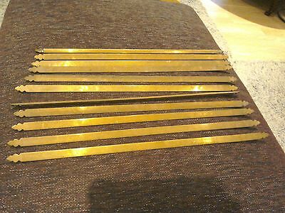 "Victorian Brass Stair Rods Trefoil Ends x11 Architectural Antique 26"" house Clea"