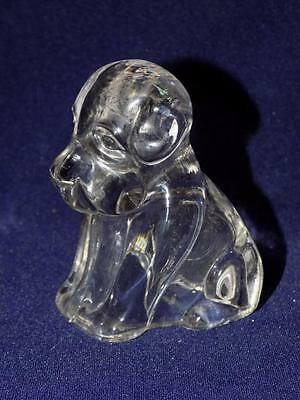 Vintage Glass Candy Container  SITTING DOG -1930'S-Clear Glass