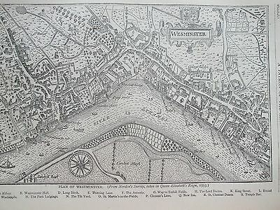 Antique Print C1875 Plan Of Westminster In 1593 Engraving London Old & New