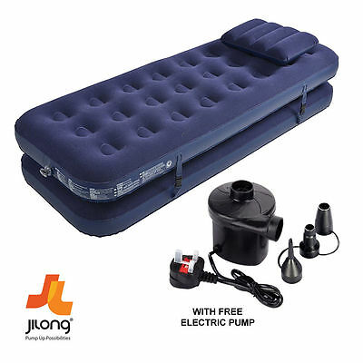 3 In 1 Inflatable Flocked Air Bed Camping Mattress Bed + Free Electric Air Pump