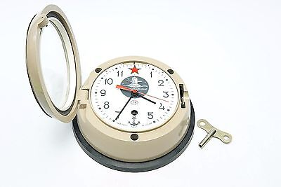 Vostok Soviet Submarine Type Clock Key Wind-Up Wall Mount CCCP Tested, Working