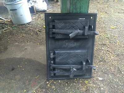 Vintage Cast iron fire door clay / bread oven / pizza stove / smoker-