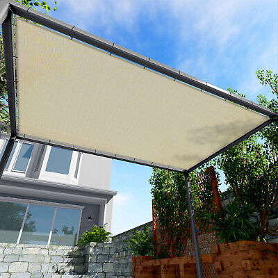 Sun Shade Sail Beige Hemmed Fabric Cloth Canopy Awning Patio Outdoor UV 6-10' FT