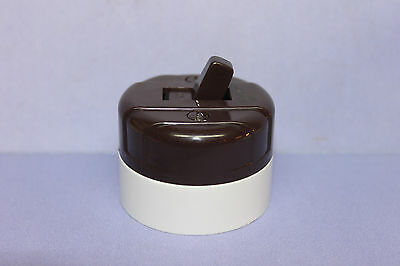 Vintage Cooper Brown & White Bakelite Round Toggle Light Switch - NEW OLD STOCK