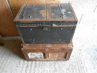 two original vintage wooden travelling trunks 1900 to 1940