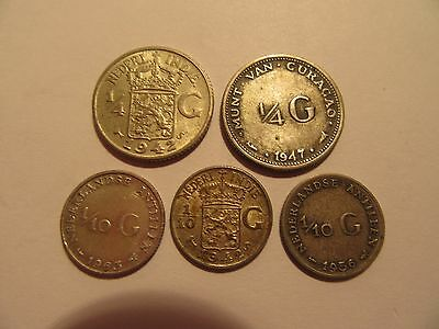 Lot of 5  Netherlands Silver Coins, mixed dates & denominations