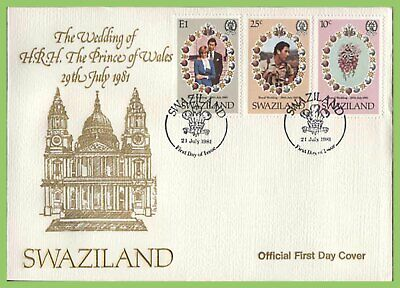 Swaziland 1981 Royal Wedding set on First Day Cover