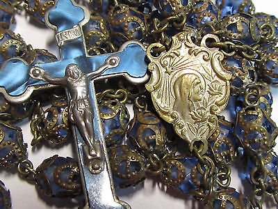 """† Vintage Celluloid Crucifix Fully Filigree Capped Caged Blue Glass Rosary 31"""" †"""
