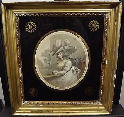 Antique Gilt-Framed J.r. Smith Engraving Print 'delia In Town' After G. Moreland