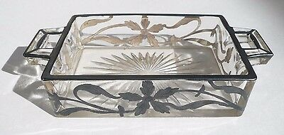 Vintage Art Nouveau Glass Cigarette Box Holder Tray With Silver Overlay