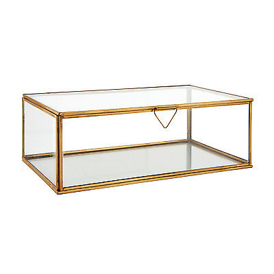 Endon Portis large box Clear glass & aged brass H: 105mm W: 310mm L: 185mm