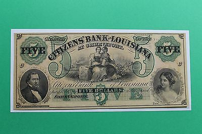 1860's $5 Citizens Bank of Louisiana Shreveport Remainder Note Crisp Nice Color