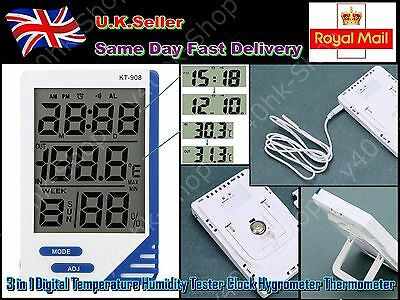 New 3 in 1 Digital Temperature Humidity Tester Clock Hygrometer Thermometer