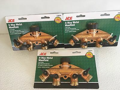 3 Pack ACE 4-Way Shut-Off Metal Manifold Water Garden Hose Brass Fitting 7109218