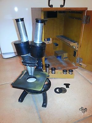 Antique  Carl Zeiss Jena Binocular microscope with case and many lenses
