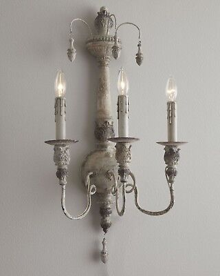 NEW Horchow French Farmhouse Restoration Vintage Antique White Chic Wall Sconce