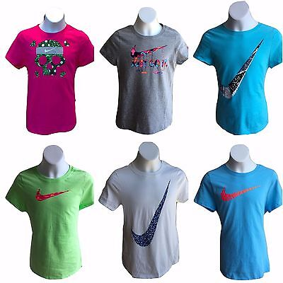 5038930ae100 Brand New NWT Nike Girl Youth Kids Graphic T Shirts Tee Pink Grey Blue Green