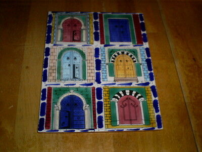 """Hand Painted Decorative Ceramic Tile DOORS  9 1/2"""" by 7 3/4"""""""