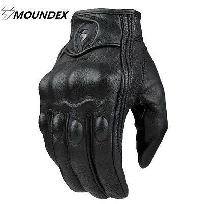 Mens Summer Leather Motorcycle Motorbike Gloves NON Perforated New Black Biker