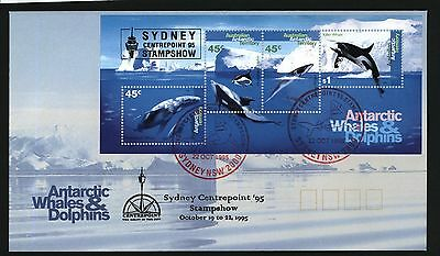 """Australia AAT Stamp Show Cover 1995 Whale Dolphin m/s SYDNEY """"CENTREPOINT 95"""""""