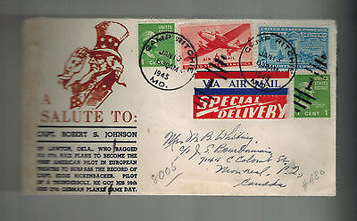 1945 USA Patriotic Cover Camp Ritchie MD Special Delivery Canada Robert Johnson