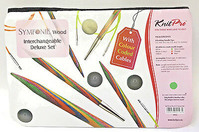 KnitPro Symfonie Wood Interchangeable Deluxe Set with Colour Coded Cables