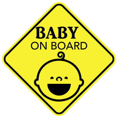 "2 Stickers BABY ON BOARD SMILE Sign 5""x5"" Sticker Decal Made in the USA"