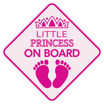 "LITTLE PRINCESS ON BOARD Baby Sign 5""x5"" Sticker Decal Buy2Get3rdFREE Made in US"