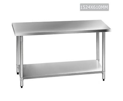New 430 Stainless Steel Kitchen Work Bench Table 1524Mm Storage Portable Shelf