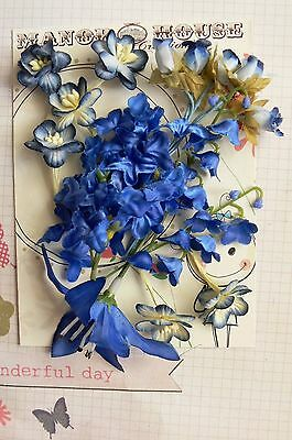 ROYAL BLUE & CREAM - 15 Flowers Blossoms & Lilly - PAPER & SILK 10-65mm H2