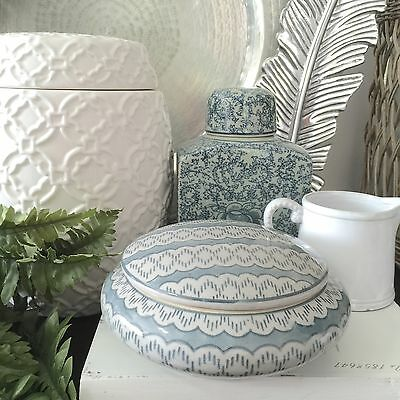 Patterned Blue and Grey Ceramic Canister/Ginger Jar/Trinket Box/Bowl with Lid