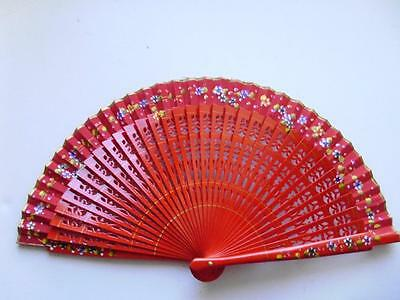 Fan Hand Red Decorated Wood Original Box