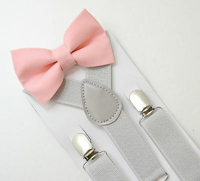 Kids Boys Mens Pastel Gray Suspenders & Blush Pink Bow tie SET 6mon- ADULT