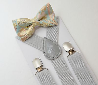 Kids Boys Mens Pastel Light Gray Suspenders & Gold Mint Bow tie SET 6mon- ADULT