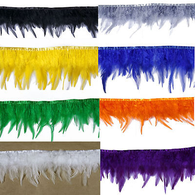 Rooster neck  Feather Fringe trims 14+ Color 1 to 10 yard Craft /Sewing/Costume