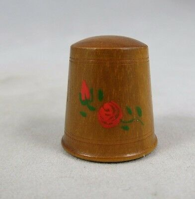 Vtg Thimble - Wood - Rose Flower - Hand Painted - Sewing