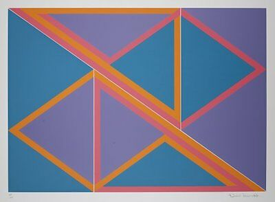 David Leverett 1970s print Limited Edition abstract colourful blue geometric