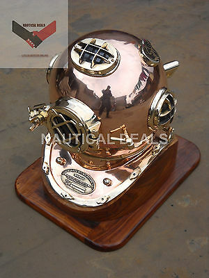 """Special U.s Navy Model Solid Copper & Brass  Fitting Diving Helmet Full Size 18"""""""