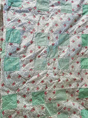 "Charming and Sweet Vintage Red and Green Nine-Patch Quilt Top 76"" x 82"""