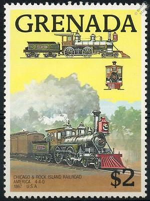 CHICAGO & ROCK ISLAND America 4-4-0 (1867) Grenada Train Stamp 1989