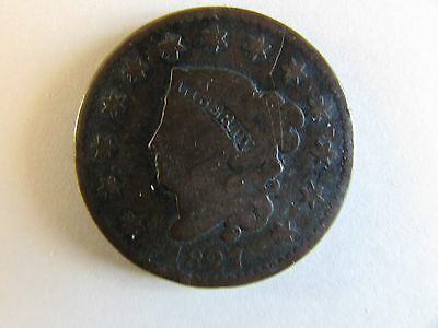 1827 Coronet Head Large Cent - Circulated